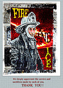 Gratitude Card Posters - Firefighter THANK YOU card Poster by Andrew Govan Dantzler