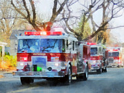 Suburban Prints - Firefighters - Line of Fire Engines in Parade Print by Susan Savad