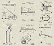 Fireman Drawings Posters - Firefighting Equipment Patent Collection Poster by PatentsAsArt