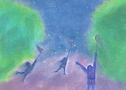 Green Movement Pastels Posters - Fireflies by jrr Poster by First Star Art
