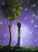 Fantasy Tree Art Painting Framed Prints - Firefly Fairy by Shawna Erback Framed Print by Shawna Erback