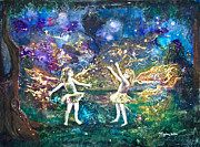 Girls Mixed Media Originals - Firefly Frolic by Patricia Allingham Carlson