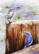 National Parks Paintings - Firehole Bridge Bluebirds by Marsha Karle