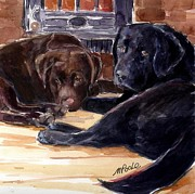 Chocolate Lab Prints - Firelight Print by Molly Poole