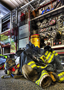 Modern World Photography Art - Fireman - Always Ready for Duty by Lee Dos Santos