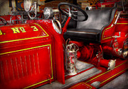 Steering Framed Prints - Fireman - Fire Engine No 3 Framed Print by Mike Savad