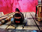 Fireman Prints - Fireman - Fire Helmet in Fire Truck Print by Susan Savad