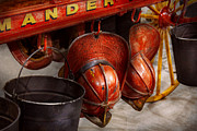 Worn Leather Metal Prints - Fireman - Hats - I volunteered for this  Metal Print by Mike Savad