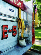Hose Framed Prints - Fireman - Hose in Bucket on Fire Truck Framed Print by Susan Savad