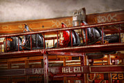 Ladder Framed Prints - Fireman - Ladder Company 1 Framed Print by Mike Savad
