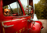 Truck Photo Posters - Fireman - Mack  Poster by Mike Savad