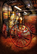 Suburbanscenes Prints - Fireman - One day a long time ago  Print by Mike Savad