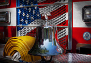 Usa Flag Prints - Fireman - Red Hot  Print by Mike Savad