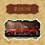 Rescue Art - Fireman - Rescue - Police by Mike Savad