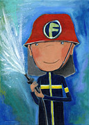 Nursery Room Art Prints Paintings - Fireman by Sonja Mengkowski