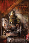 Coal Metal Prints - Fireman - Steam Powered Water Pump Metal Print by Mike Savad
