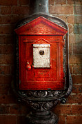 Brick Prints - Fireman - The fire box Print by Mike Savad