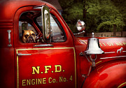 Dogs Photo Prints - Fireman - This is my truck Print by Mike Savad