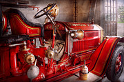 Old Fashioned Metal Prints - Fireman - Truck - Waiting for a call Metal Print by Mike Savad