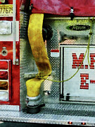 Engine Art - Fireman - Yellow Fire Hose by Susan Savad