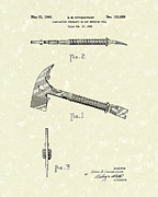 Fireman Drawings Posters - Firemans Axe 1940 Patent Art Poster by Prior Art Design