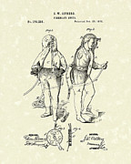Gear Drawings Metal Prints - Firemans Suits 1876 Patent Art Metal Print by Prior Art Design