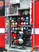 Fire Engine Framed Prints - Firemen - Colorful Gauges on Fire Truck Framed Print by Susan Savad