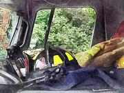 Firefighter Posters - Firemen - Helmet Inside Cab of Fire Truck Poster by Susan Savad