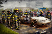 Firefighting Prints - Firemen - The fire demonstration Print by Mike Savad