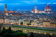 Tuscan Sunset Posters - Firenze by Night Poster by Inge Johnsson