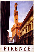 Italian Sunset Posters - Firenze Italy Poster by Nomad Art And  Design