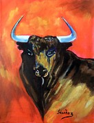 Sanchez Painting Prints - Firery Bull Print by Manuel Sanchez