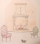 Interior Scene Pastels Metal Prints - Fireside Kitten Metal Print by Christine Corretti