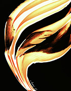 Framed Prints Prints - FireWater 2 - Buy Orange Fire Art Prints Print by Sharon Cummings