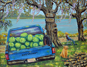 Watermelons Posters - Firewood In July Poster by Dwain Ray
