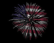 Firework Over Flag Print by Robert Graybeal