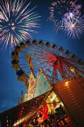 Amusement Park Ride Framed Prints - Fireworks At An Amusement Park Framed Print by Darren Greenwood
