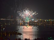 Fort Walton Beach Tapestries Textiles Acrylic Prints - Fireworks at Night for the 4th of July over Fort Walton Beach from 14th Floor Balcony Acrylic Print by Jeff at JSJ Photography