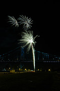 Benjamin Franklin Prints - Fireworks at the Ben Franklin Bridge Print by David Hahn