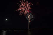 Celebration Art Print Prints - Fireworks Display Lake Coeur dAlene and Full Moon Print by Denise Torres