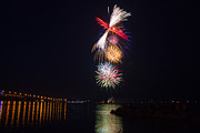 Pyrotechnics Prints - Fireworks finale over the York River in Williamsburg Print by James Drake
