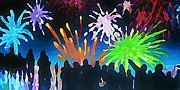 Crowds  Digital Art Prints - Fireworks in Halifax Print by John Malone