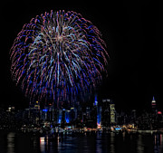 Skylines Metal Prints - Fireworks In New York City Metal Print by Susan Candelario