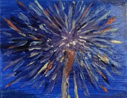 July 4th Paintings - Fireworks in the Sky by Antoinette Allen
