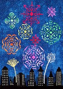 Cities Tapestries - Textiles Metal Prints - Fireworks Metal Print by Jean Baardsen