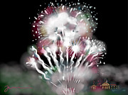 Fireworks Drawings Posters - Fireworks On High School Hill Poster by Jean Pacheco Ravinski
