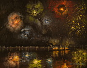 Fireworks Paintings - Fireworks on the Delaware River by Patrick ODriscoll