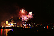 Ohio River Landscapes Posters - Fireworks over Cincinnati Poster by Deborah Fay