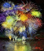 Fireworks Paintings - Fireworks over  Lake Bled by Dragica  Micki Fortuna