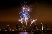 Fire Works Photos - Fireworks over San Diego skyline by Jetson Nguyen
